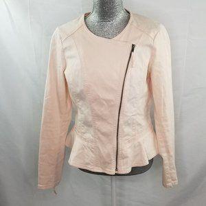 ELLE Pale Pink Asymmetrical Denim Moto  Jacket